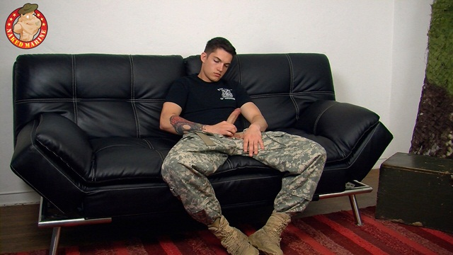 Army man Timo drops his combo's and jerks his hard cock at Naked Marine