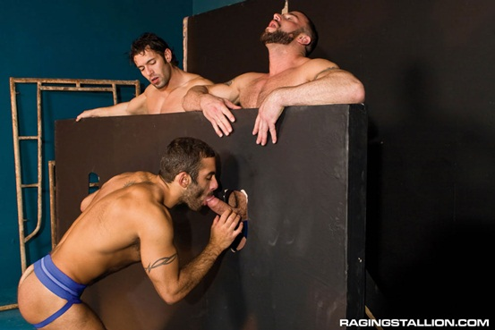 Glory hole fuck fest threesome Spencer Reed and Alexander Garrett with Jason Michaels