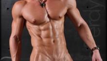 Muscle naked bodybuilder Darius Ferdynand jerking uncut cock