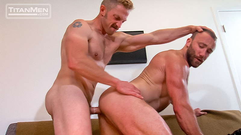 titan men  Adam Herst eats Nick Prescott's hairy hole before fucking him