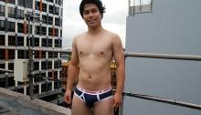 21 year old mate Ryan Kai drops his jockstrap and wanks out a huge cum load