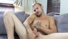 Sexy naked stud Rian Fortin strips off and jerks his 8 inch dick