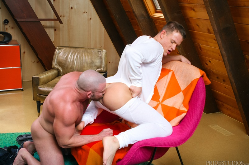 Hairy chested Coach Shay Michaels is down on his knees sucking Brandon Wilde's big dick