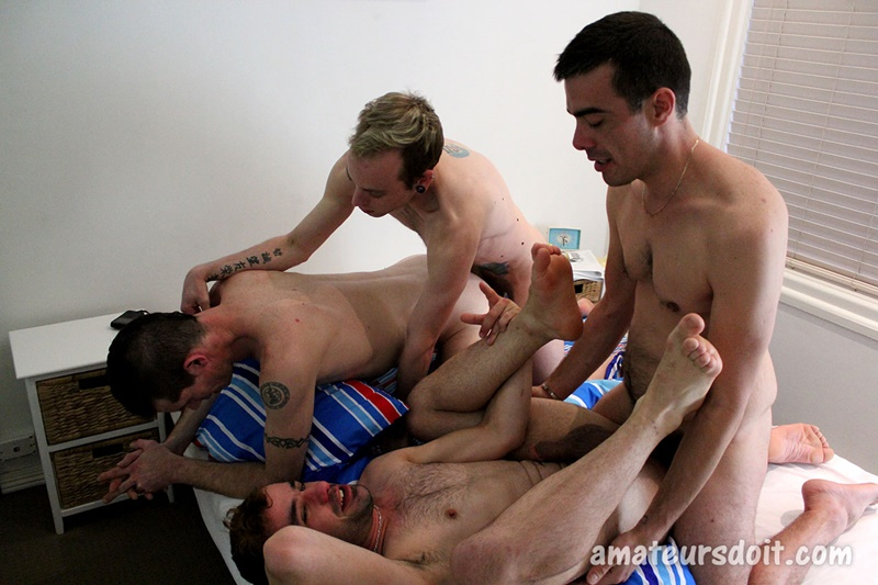 Amateurs Do It Harvey and Hunter on all fours as Leo and Levi fuck their fine asses