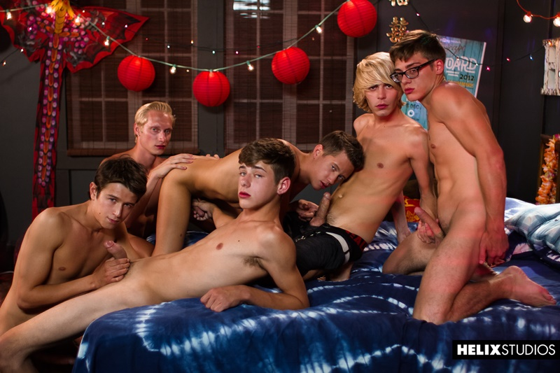 Mass gay orgy Max Carter, Kyle Ross, Evan Parker, Tyler Hill, Blake Mitchell, Joey Mills sucking and fucking