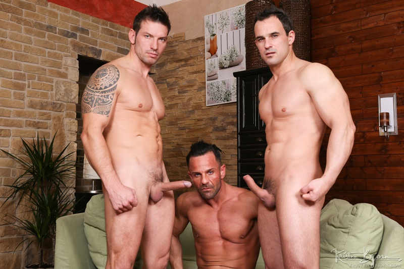Alex Brando and Rado Zuska tag team bareback fucking Martin Porter's wet and raw ass