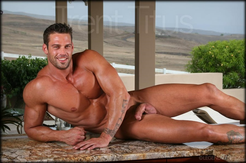 Legend Men Trent Titus strips and jerks his huge fat dick to a massive cum explosion