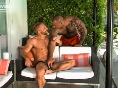 Dirk Caber's hot ass fucked hard by hairy chest big muscle hunk Daymin Voss' huge dick
