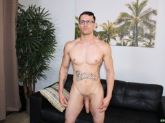 Sexy young Army stud Woody Johnson jerks his fat cock to a massive load of hot boy cum