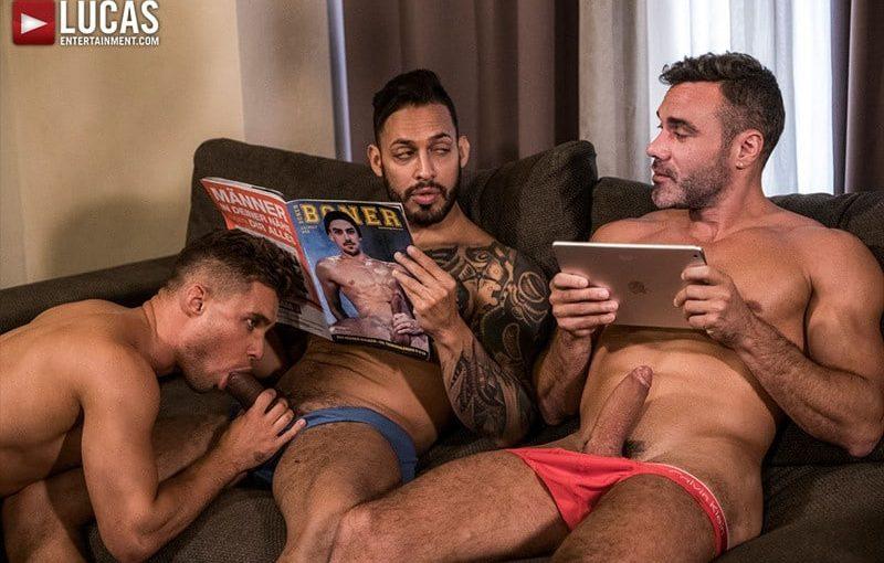 Big muscle hunks Viktor Rom and Manuel Skye abuse Klim Gromov's hot ass