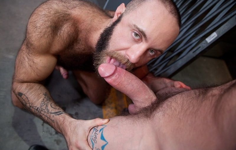 Teddy Bear chokes and slobbers on Sergeant Miles' massively thick cock
