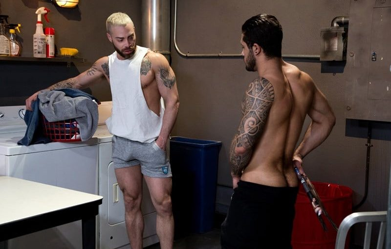 Carlos Lindo sinks straight to his knees and gets Ryan Cruz's hairy dick in his mouth