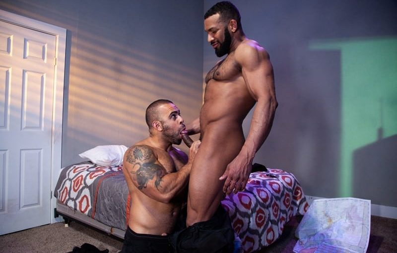 Jay Landford takes ownership of Lorenzo Flexx's hole with passionate kisses and long driving thrusts of his raw glistening cock