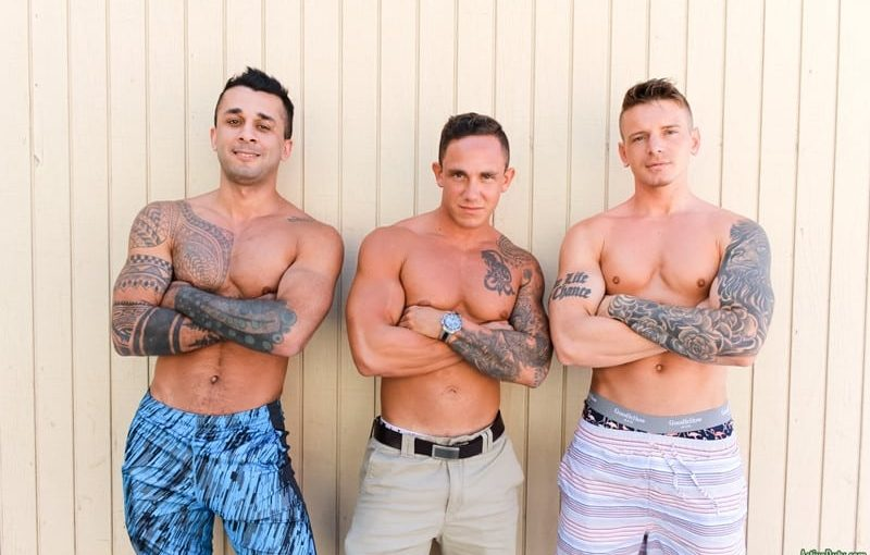 Sexy men threesome Laith Inkley, Cole Weston and Gunner hardcore ass fucking orgy