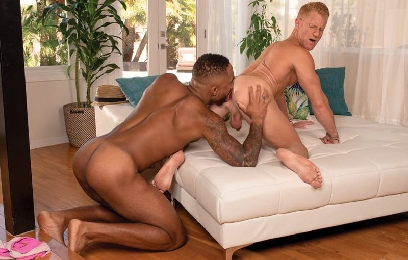 Remy Cruze fucks Johnny V's hot muscled asshole until his big dick explodes cum all over his washboard abs