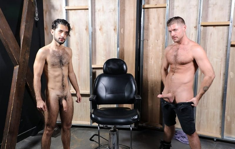 Jacob Connar drops to his knees and deep throats all of Jack Andy's huge cock