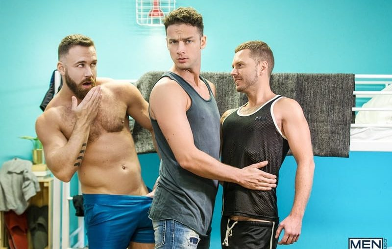 Mars Gymburger slips in to rim Logan Moore's hungry bottom and fuck him with his big hung cock before Damon Heart returns to pick up where he left off
