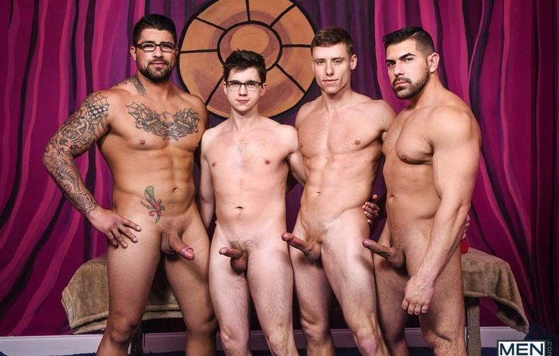 Muscle bound stud Damien Stone, Justin Matthews, Ryan Bones and Will Braun hardcore ass fucking orgy