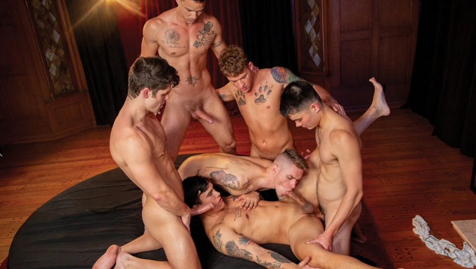 Men for Men Blog 74849_05_01 Hot anal fuck fest Devin Franco, Trevor Miller, Nic Sahara, Zak Bishop and Colton Reece hardcore orgy Falcon Studios